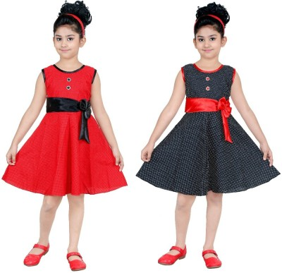 N BAHUBALI Girls Midi/Knee Length Casual Dress(Multicolor, Sleeveless)