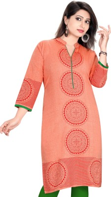 Meher Impex Women Printed A-line Kurta(Orange, Red)