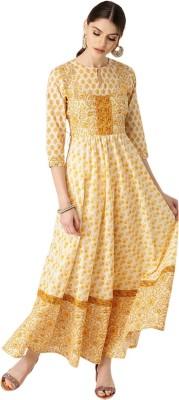 Libas Women Printed Anarkali Kurta(Yellow)