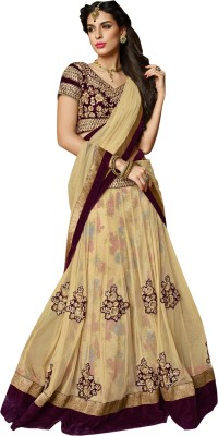 Mahotsav Embroidered Semi Stitched Lehenga, Choli and Dupatta Set(Beige) at flipkart