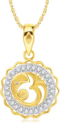 VK Jewels Om Ganesh 18K Yellow Gold Cubic Zirconia Alloy, Brass Pendant