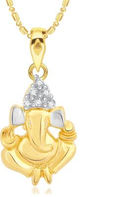 VK Jewels Ganesh 18K Yellow Gold Cubic Zirconia Alloy Pendant