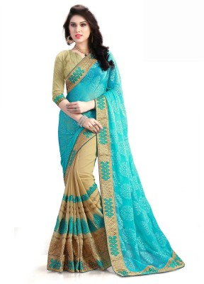 RJB Embroidered Fashion Georgette Saree(Light Blue) Flipkart