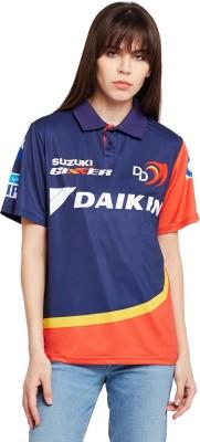 Delhi Daredevils Printed Women Polo Neck Multicolor T-Shirt