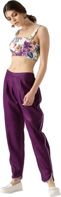 Oxolloxo Regular Fit Women Purple Trousers