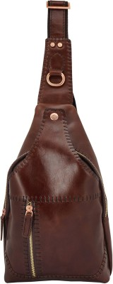 Ayesha Leather Works Hand made Hand Stitching Italian Leather Business Casual Dark Tan Shoulder Cross Body Bag, Exclusively Designed in...