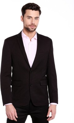 Jack & Jones Solid Single Breasted Casual Men Blazer(Dark Blue) at flipkart
