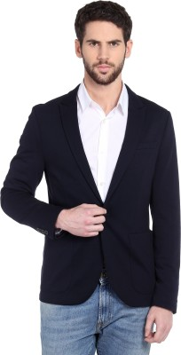 Jack & Jones Solid Single Breasted Casual Men Blazer(Dark Blue)