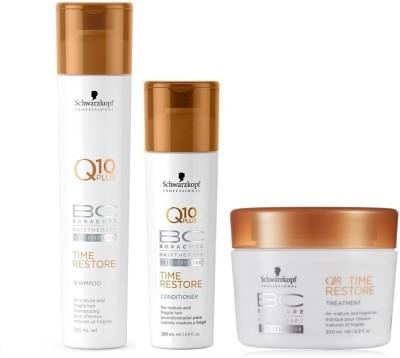 Schwarzkopf BC Bonacure Q10 Plus Time Restore Shampoo (250ml) + Conditioner (200ml) + Hair Mask (200ml) (Pack of 3)(Set of 3)