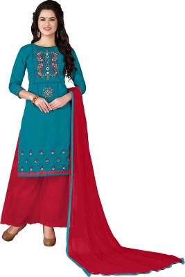Vaidehi Fashion Cotton Embroidered Semi-stitched Salwar Suit Dupatta Material, Semi-stitched Salwar Suit Material, Salwar Suit Material, Dress/Top Material