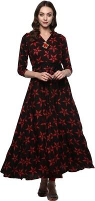 Ayan Women Printed Flared Kurta(Red, Black)