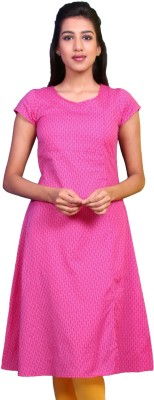 Estyle Casual Solid Women Kurti(Pink)