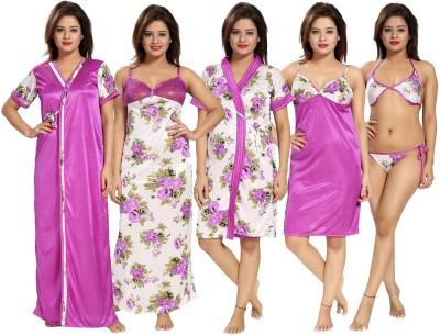Fabme Women Robe and Lingerie Set(Maroon)