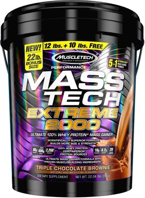 Muscletech Mass Tech Extreme 2000 Weight Gainers/Mass Gainers(10 kg, Triple Chocolate Brownie)