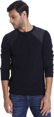 Jack & Jones Solid Crew Neck Casual Men Dark Blue Sweater at flipkart