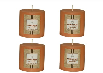 Numen Spark Set Of 4 Buttery Vanilla Solid Pillar Candle | Candles for Decoration | Candles for Bedroom(1200 g)