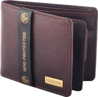 Hidelink Men Formal Brown Genuine Leather Wallet(6 Card Slots)