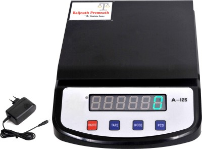 Baijnath Premnath Heavyduty capacity 6 kg, accuracy 100 milligram (10th part of a gram 0.1g) , multipurpose Kitchen and silver weight measuring analytical balance, Rechargeable battery and electricity operated digital kitchen weight measuring machine with charger Weighing Scale(Black)