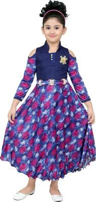smartbazar Girls Maxi/Full Length Party Dress(Multicolor, 3/4 Sleeve)