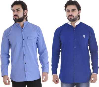 COBIO MAN Men's Solid Casual Mandarin Shirt(Pack of 2)