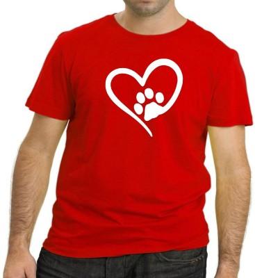 HEYUZE Printed Men's Round Neck Red T-Shirt