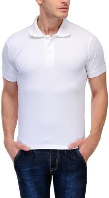 TNX Solid Men's Polo Neck White T-Shirt
