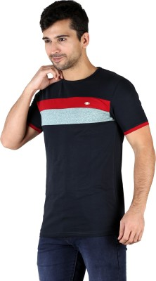 KINGSBERRY Striped Men's Round Neck Multicolor, Blue T-Shirt(Pack of 2)