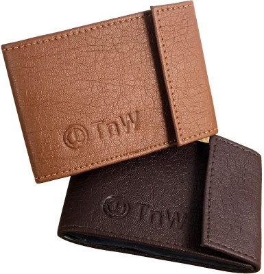 TnW Combo 15 Card Holder(Set of 1, Tan, Brown)