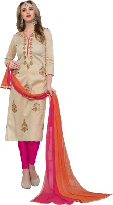 Vaidehi Fashion Cotton Embroidered, Solid, Applique Semi-stitched Salwar Suit Dupatta Material, Semi-stitched Salwar Suit Material, Salwar Suit Material, Dress/Top Material, Salwar Suit Dupatta Material