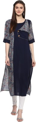 Awesome Women Solid, Printed A-line Kurta(Pink)