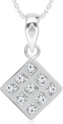 VK Jewels Square Shape Diamond Studded Rhodium Cubic Zirconia Brass, Alloy Pendant