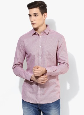 Jack & Jones Men Solid Casual Pink Shirt at flipkart