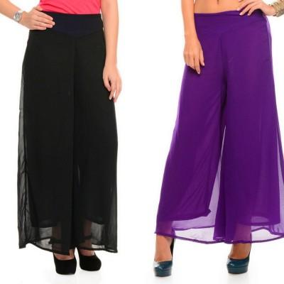 SAMAYARA Regular Fit Women Purple, Black Trousers