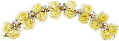 Majik Hair Accessories Flower Gajra (Veni) For Women Wedding | Bridal Hair Accessories Hair Band(Yellow)