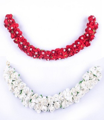 Confidence New Style Bridal Flower Hair Gajra (Veni) Accessories For Wedding Women & Girls | Party Wear Hair Accessories Bun(Red, White) Flipkart