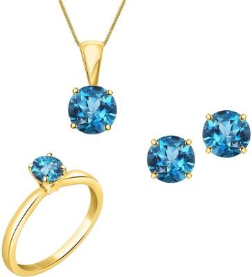 Jewelzon Rhodium Sapphire, Cubic Zirconia Sterling Silver Pendant