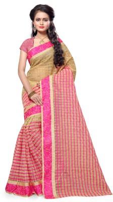 INDIAN BEAUTIFUL Plain Banarasi Polycotton Saree(Pack of 5, Pink)