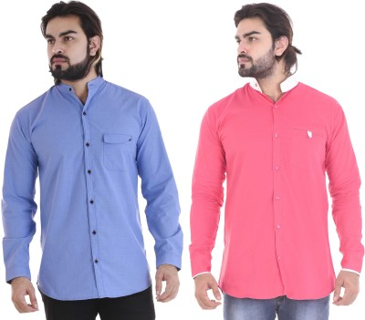 COBIO MAN Men's Solid Casual Shirt(Pack of 2)
