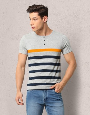 Metronaut Striped Men Henley Multicolor T-Shirt