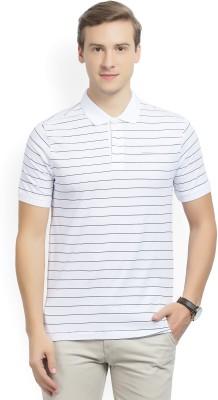 b53018cf4 46% OFF on Van Heusen Striped Men's Polo Neck White T-Shirt on Flipkart |  PaisaWapas.com