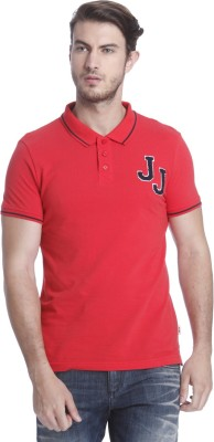 Jack & Jones Solid Men Polo Neck Red T-Shirt
