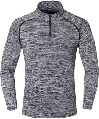 ZESTEEZ Solid Men's Mock Neck Grey T-Shirt
