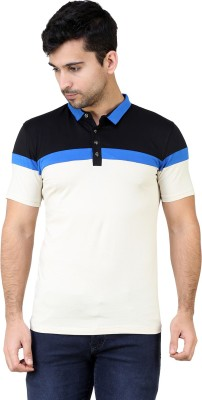 KINGSBERRY Striped Men's Polo Neck Multicolor T-Shirt(Pack of 2)