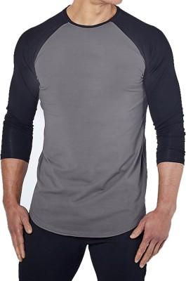 ZESTEEZ Solid Men's Round Neck Grey T-Shirt