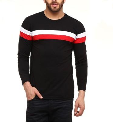 Wearza Striped Men Round Neck Black T-Shirt