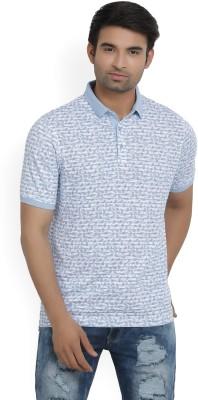 Louis Philippe Printed Men Polo Neck Light Blue T-Shirt