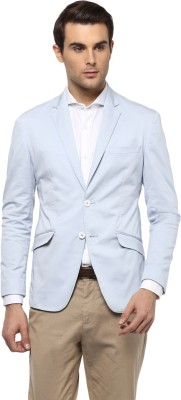 Peter England Solid Single Breasted Formal Men Blazer(Light Blue) at flipkart