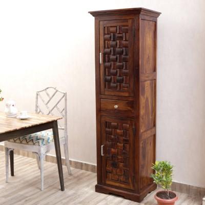 Home Edge Weave Sheesham Solid Wood Free Standing Cabinet(Finish Color - Teak Finish)