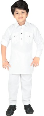 ahhaaaa Boys Casual Pathani Suit Set(White Pack of 1)