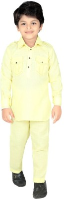 ahhaaaa Boys Casual Pathani Suit Set(Yellow Pack of 1)